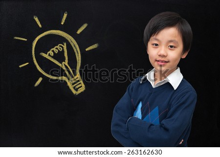 Young boy has ideas - stock photo