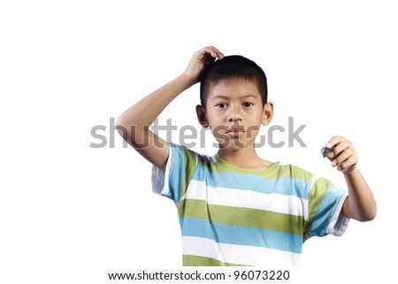 Young boy have no idea on white background - stock photo