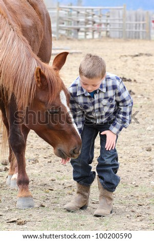 Young boy in blue feeding his horse treats - stock photo