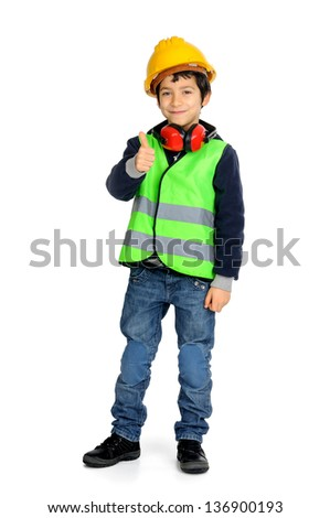 Young boy in construction gear