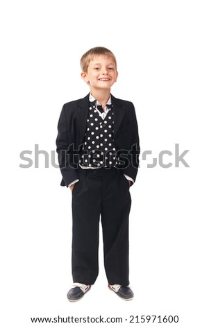 Young boy in the black suit isolated on white - stock photo
