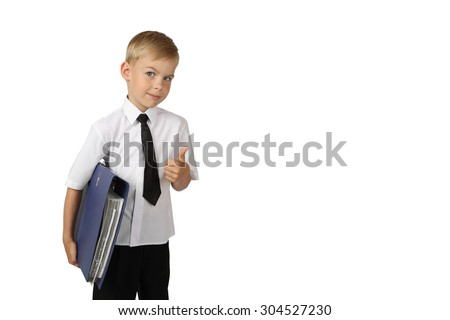 Young boy in white shirt and black tie with big folder in hand shows thumb up isolated on white background with copy space for text or advertising - successful business concept - stock photo