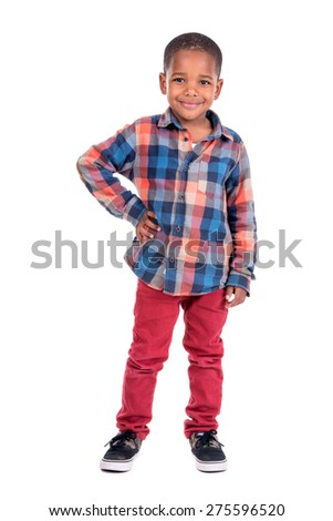 Young boy isolated in white