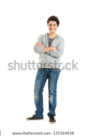 Young Boy Isolated On White Background - stock photo