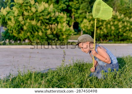 Young Boy Kneeling on Lawn with Bug Net Outdoors in Summer in front of Home - stock photo