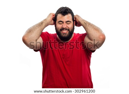 young boy lamenting with arms raised above his head isolated on white background - stock photo