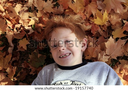 Young boy laying in gorgeous autumn leaves.