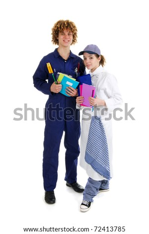 Young boy learning for carpenter and girl for cook