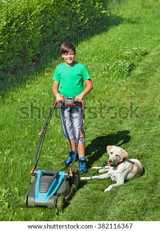 Young boy mowing the lawn together with his labrador dog in summer