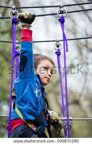Young boy navigating obstacle harnessed to wires in adventure park.