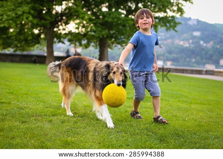 Young boy playing with a collie dog in the park with a ball - stock photo