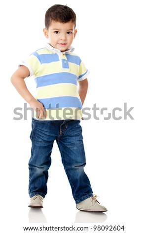 Young boy posing - isolated over a white background - stock photo