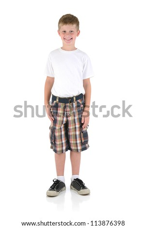 Young Boy Posing on white Background - stock photo