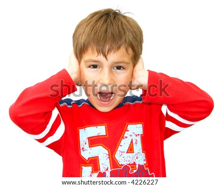 Young boy screaming with hands beside ears (isolated)