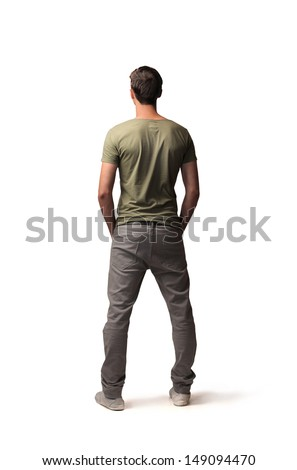 young boy shot back - stock photo