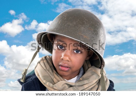 Young boy soldier portrait