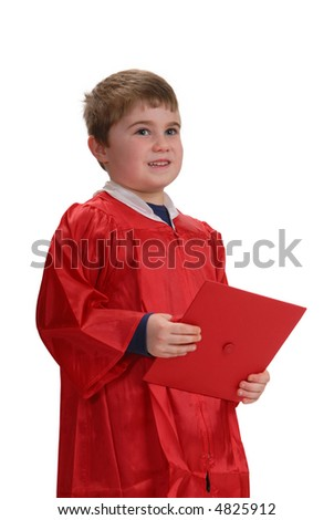 Young boy standing and listening at graduation, isolated on white
