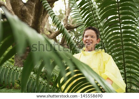 Young boy standing by large fern in forest during field trip - stock photo