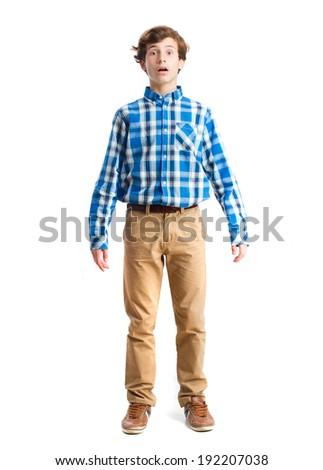 young boy strange gesture - stock photo