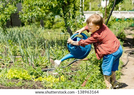 Young boy watering rows of vegetables in the family vegetable garden using a large blue plastic watering can - stock photo