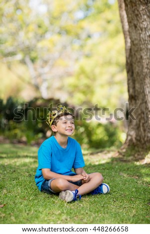 Young boy wearing a crown and sitting on grass in park - stock photo