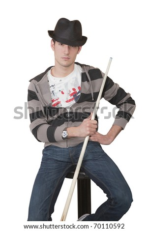 young boy wearing a hat and a pool cue in hand isolated on white background