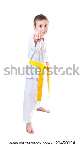 Young boy wearing tae kwon do uniform, yellow belt - stock photo