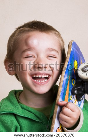 Young boy with a bump on his head after falling - stock photo
