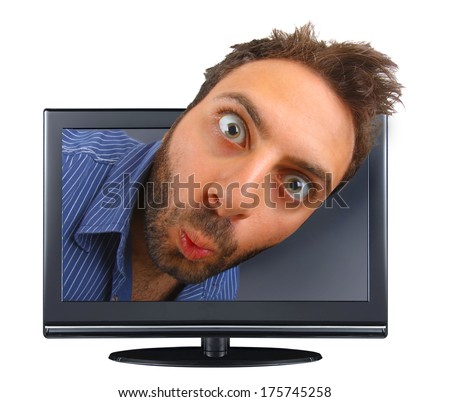 Young boy with a surprised expression in the tv.