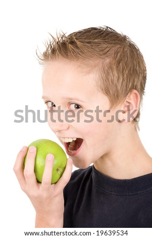 young boy with an apple