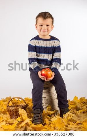 Young boy with autumn leaves