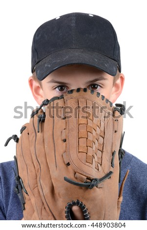 young boy with baseball glove and hat isolated on white background - stock photo