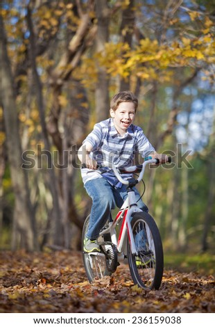 Young boy with bike on path during the autumn
