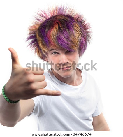 young boy with colored hair - stock photo