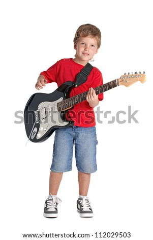 Young boy with electric guitar isolated on white background