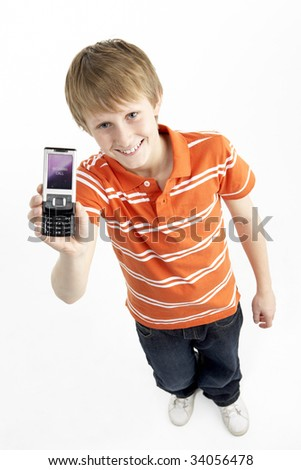 Young Boy With Mobile Phone