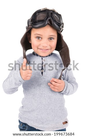 Young boy with pilot  helmet isolated in white
