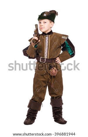 Young boy with the gun dressed as a medieval hunter. Isolated on white - stock photo