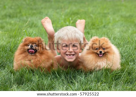 Young boy with two dogs are lying on the grass