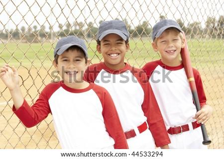Young Boys In Baseball Team - stock photo