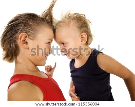 young boys with punk hairstyle - stock photo