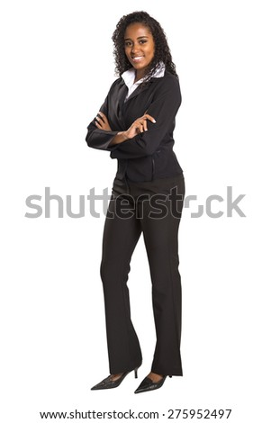 Young brazilian businesswoman with arms folded smiling isolated on white background
