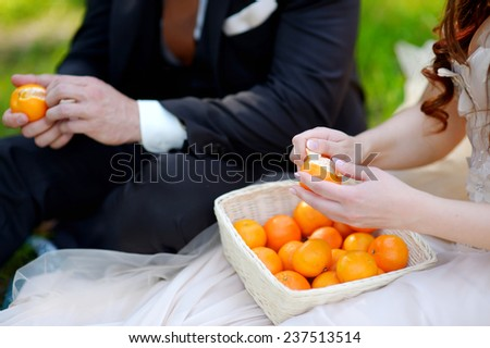 Young bride and groom eating tangerines in beautiful summer park - stock photo