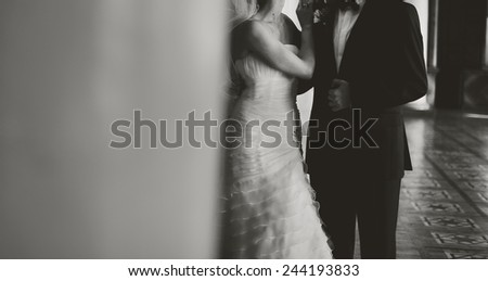 Young bride and groom together.