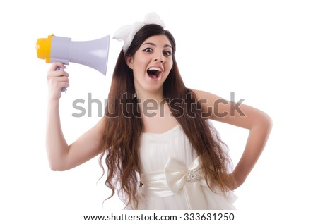 Young bride in funny concept on white