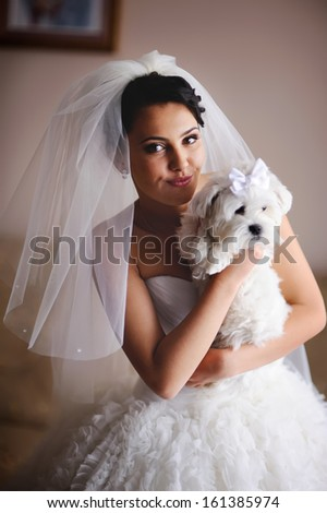 Young  bride in the morning at home with tiny dog in hands. - stock photo