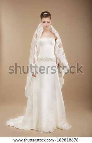 Young Bride in Wedding Lacy Dress over Brown Background - stock photo