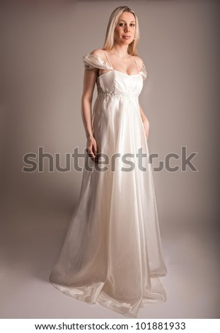 young bride wearing vintage dress