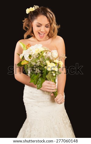 young bride with flowers  - stock photo