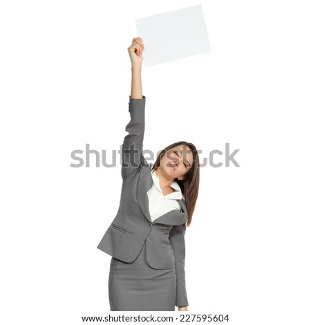 Young brunette Asian businesswoman standing positive showing blank signboard, isolated on white background - stock photo